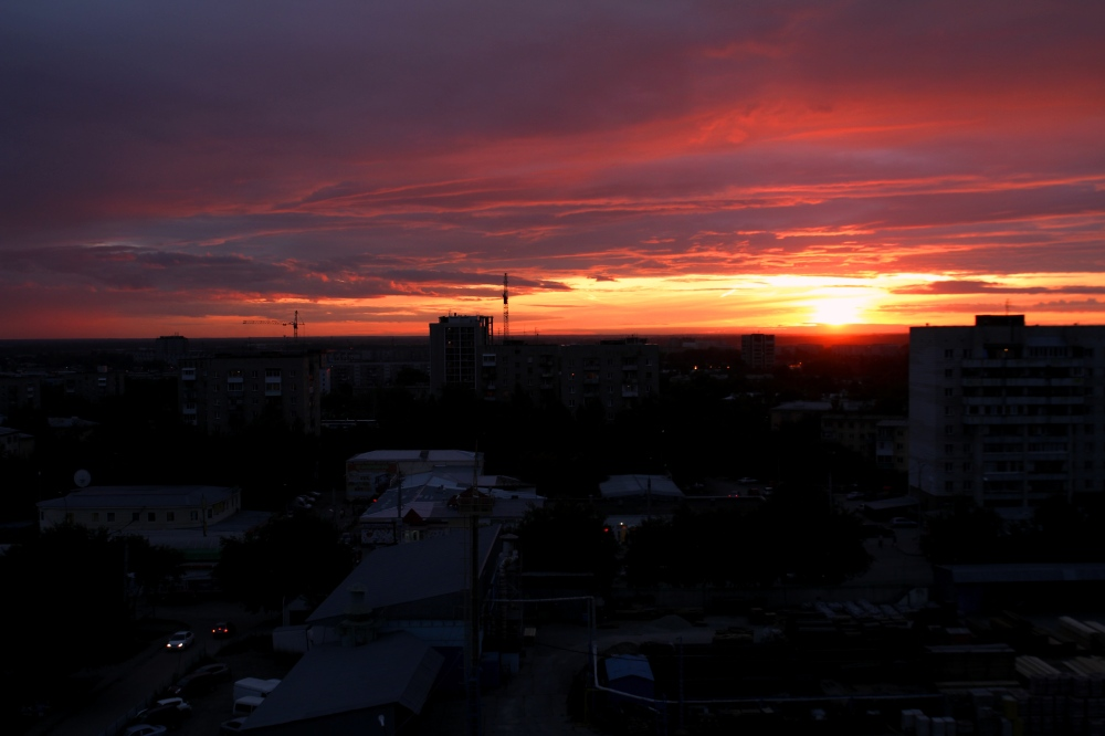 Sunset over Siberia; Novosibirsk, Russia.