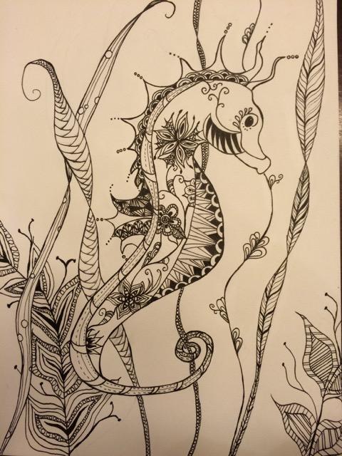Zentangle - Janyre Tromp - Seahorse 1