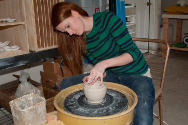 Rachael making bowl on potter's wheel