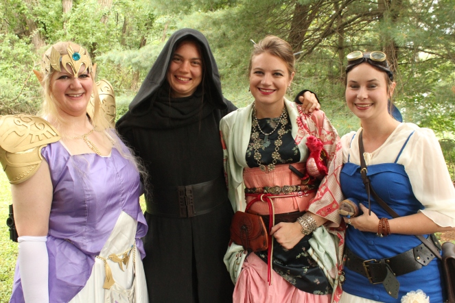 Myself and fellow authors as steampunk Disney princessses + Kylo Ren